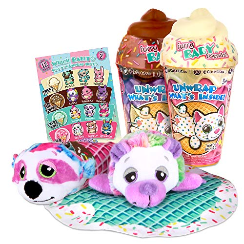 "Basic Fun Cutetitos Babitos 2-Pack (5"" Each) Furry Baby Friends - Ice Cream Series - Collectible Surprise Stuffed Animals Plush - Ages 3+ - Series 2 - Great Gift for Girls & Boys"
