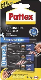 Pattex Secondelijm Ultra Gel Mini Trio, extra sterke en flexibele superlijm in 3 tubes secondelijm gel voor bijv. rubber, ...