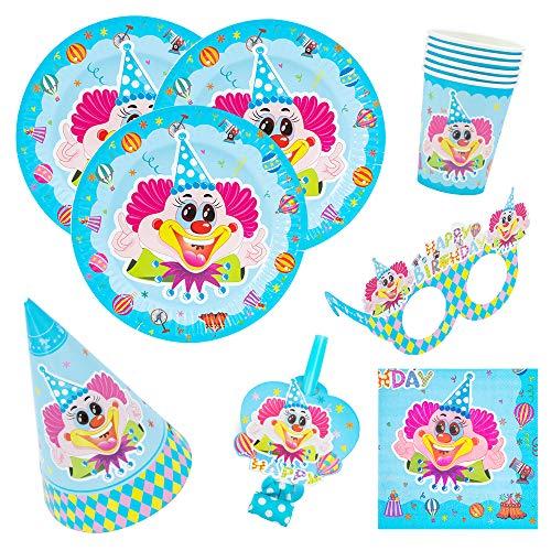 Kingmate Party Set Clown-Party Set für Geburtstag Kindergeburtstag Mottoparty, Tischdeko Partygeschirr Set für 6 Personen