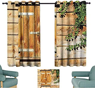 Mannwarehouse Shutters Decor Thermal Curtains Facade of an Old Building and Wooden Shutters Traditional House Summer Plants Nature 70%-80% Light Shading, 2 Panels,72