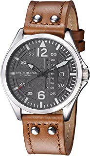 Stuhrling Original Aviator 699 Men's Gray Dial Leather Band Watch - 699.02