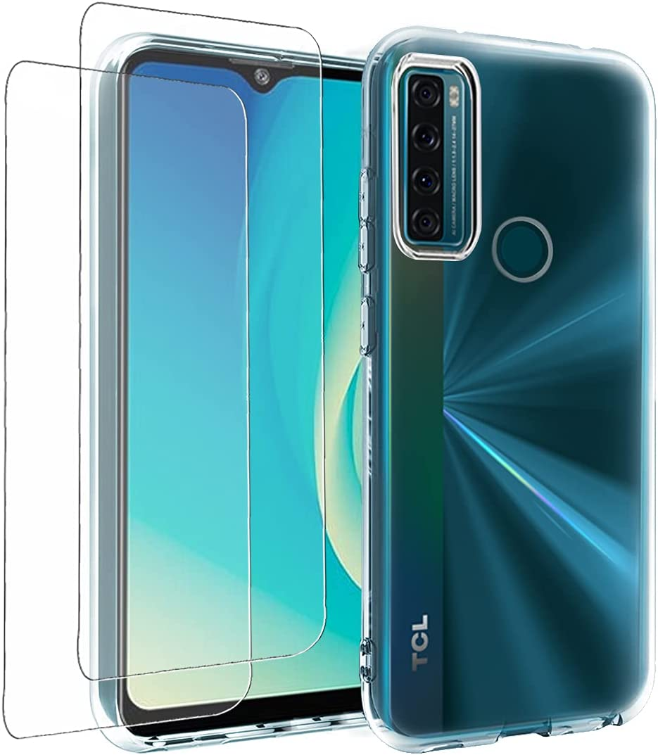 Oborzian for TCL 20 SE Case with Screen Protector, Shock-Absorption Flexible TPU Clear Soft Silicone Bumper Phone Cover for TCL 20 SE(Clear)