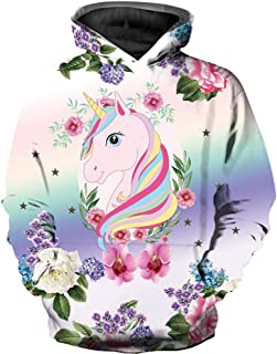 KIDVOVOU Boys Girls Teen's 3D Unicorn Print Hoodies Pullover Kids Sweatshirts