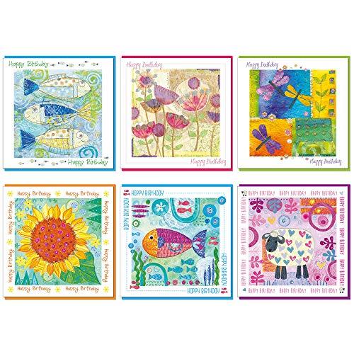 Verpakking van 6 christelijke verjaardagskaarten, 14x14cm, elk met een bijbelvers links aan de binnenkant van de kaart, een gekleurde envelop. Blank binnen voor je eigen bericht. (vissen, papavers, libel, zonnebloem, vis, schapen)