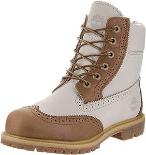 Timberland Womens 6 Inch Premium Brogue Tan/Off White Boot 8 Women US