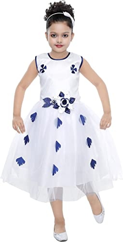 Girls 2 Year to 13 Year Floral Pretty Look New Latest Fashion White Blue Net Frock Gown for Kids