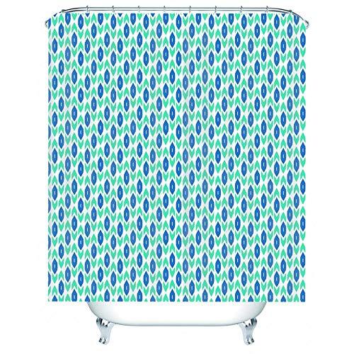 DJOKBW Duschvorhang Antischimmel Grün-Blaues Druckmuster Polyester Wasserdicht Duschvorhang Anti-Bakteriel Waschbar Mit 12 Duschvorhängeringen 180x200cm Für Dusche Badewanne Und Bathroom