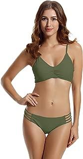 Women's Strap Side Bottom Halter Racerback Bikini Bathing Suits (FBA)