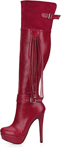 Bottes d'hiver pour Femmes 14CM Talons Hauts 3CM Plate-Forme PU en Daim à Hauteur du Genou Bottes Tassel Bout Pointu Boucle Zipper Chaussures Rouge