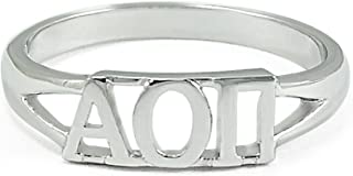 The Collegiate Standard Sterling Silver Alpha Omicron Pi Sorority Ring with Greek cut-out Letters