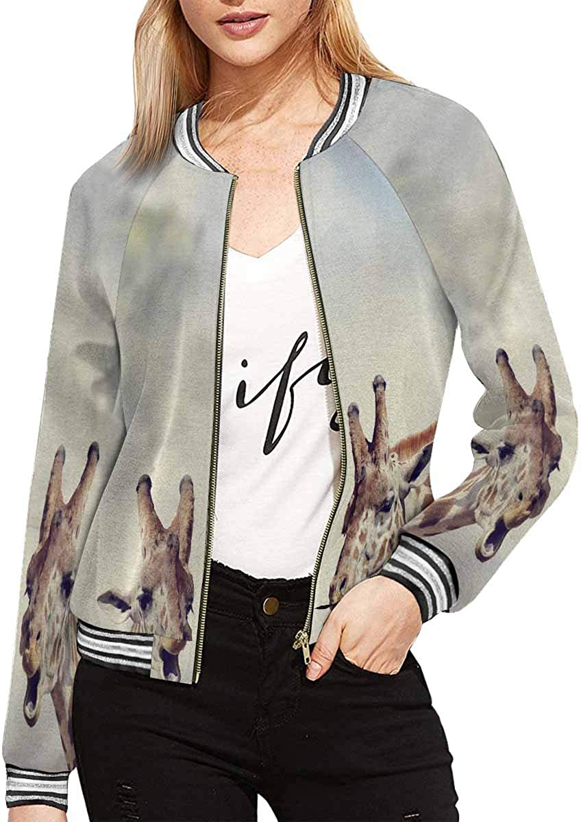 InterestPrint Women's Zip Up Baseball Jacket Long Sleeves Short Blazer Outfit