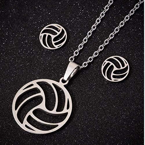 Collar de acero inoxidable Juego de collar de voleibol para mujeres Voleibol Aficionado a los deportes Collares y colgantes Joyería con dijes Collar colgante Regalo para mujeres Hombres Niñas Niños