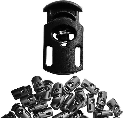 Plastic Cord Locks (200 pcs) Spring Loaded Lock, Single Hole, Black
