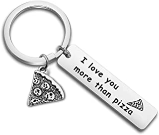 AKTAP Pizza Keychain Funny Valentine Gift I Love You More Than Pizza Pizza Lover Gift for Her Boyfriend Gift Husband Keyring