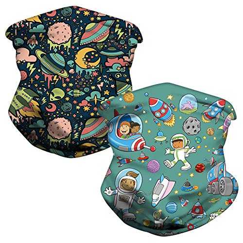 LOZACHE 2pcs Space Kids Neck Gaiter Adjustable Multifunction Childrens Face Mask Cover Reusable UV Protection Cooling Headband Reusable for Boys Girls (Space 01)