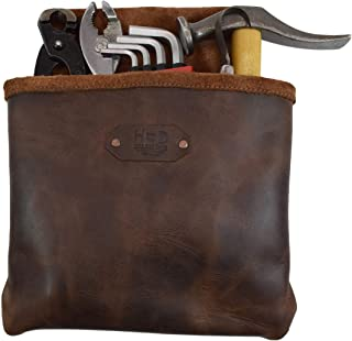 Leather Single Big Pocket Professional Nail/Tool Belt Bag for Constructor/Electrician/Plumber Handmade by Hide & Drink :: Bourbon Brown