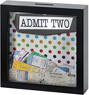 Admit Two Polka Dot 7 x 7 Black Wood Shadow Box Ticket Stub Holder