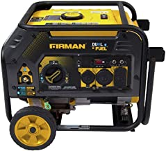 Firman H03652 4550/3650 Watt Recoil Start Gas or Propane Dual Fuel Portable Generator CARB and cETL Certified with Wheel Kit, Black (Renewed)