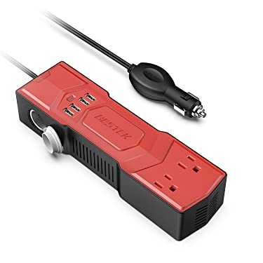 BESTEK 200W Power Inverter with Cigarette Lighter Socket DC 12V to 110V AC Car Converter 4.8A 4 USB Charger Car Adapter