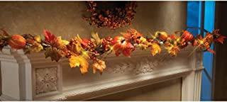 m·kvfa 1.8M LED Lighted Fall Autumn Pumpkin Maple Leaves Garland Thanksgiving Halloween Christmas New Year Home Wedding Party Decor Decorative Rattan