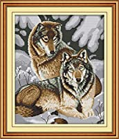 刺繡スターターキット刻印クロスステッチキット初心者簡単面白いプレプリントパターンのDIY11CT刺繡のための雪狼カップル16x20インチ