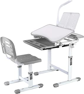 POTBY Kids Desk and Chair Set, Height Adjustable Children Study Table with Wood Tiltable Anti-Reflective Tabletop, Bookstand, Pull-Out Drawer Storage and Touch Led for School Students (Gray)