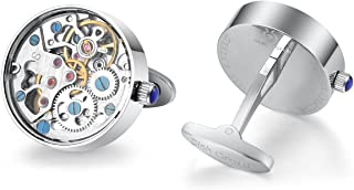 Dich Creat Men's Stainless Steel Wind-up Movement Cufflinks Covered with Glass