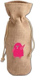 Penguin Pink Greeting Jute Burlap Wine Drawstring Bag Wine Sack Natural