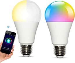 Smart WiFi Light Bulbs Works with Alexa Echo Google Home,RGBCW Colour Changing Dimmable Cold Warm Light Bulb E27 10W(60W E...