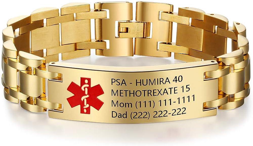 Luolajewelry Personalized Engrave Alert Max Popular overseas 47% OFF Custom ID Bracelets Emer