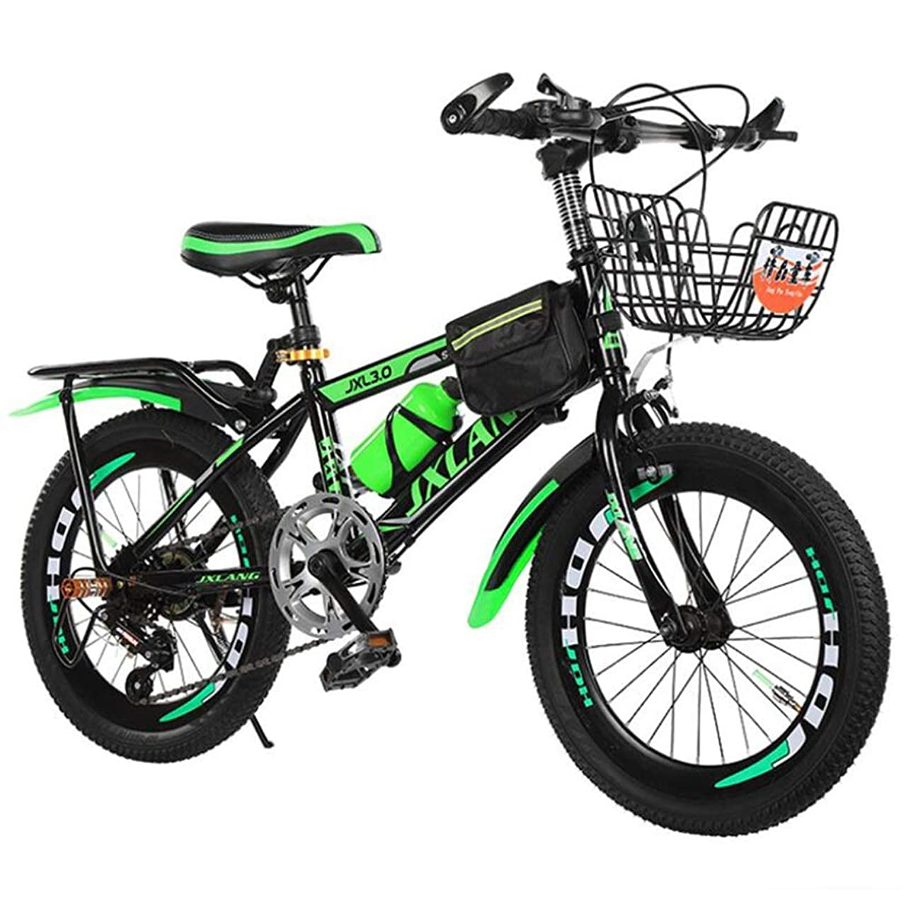 ブラザー利用可能迷信可変速マウンテンバイク、オフロードサイクリング屋外シティロードバイク学生自転車 (Color : Black green, Size : 22inch)