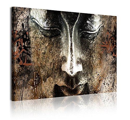 DekoArte 340 - Cuadros Modernos Impresión de Imagen Artística Digitalizada | Lienzo Decorativo Para Tu Salón o Dormitorio | Estilo Cara Buda Zen Piedra con Letras Chinas | 1 Pieza 120 x 80 cm