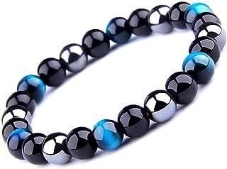 UEUC Bracelet Triple Protection Oeil de Tigre, Perles en hématite et Obsidienne Noire de
