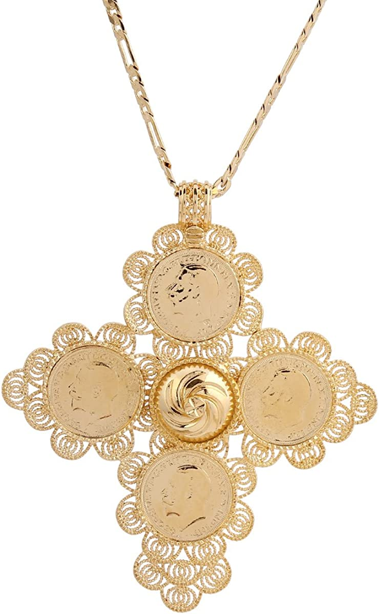 Newest free Ethiopia Big Cross Pendant for Pl 18k Men Women Gold Popularity Real