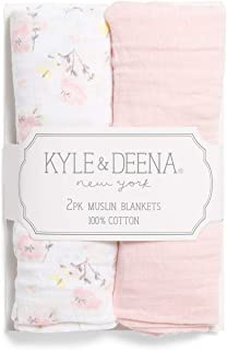 kyle & deena Unisex Muslin Swaddle Blankets for Baby Boys and Baby Girls in Shades of Blue, Pink, Grey, Green, Yellow - Set of 2, 1 Solid, 1 Printed (Pink Floral)