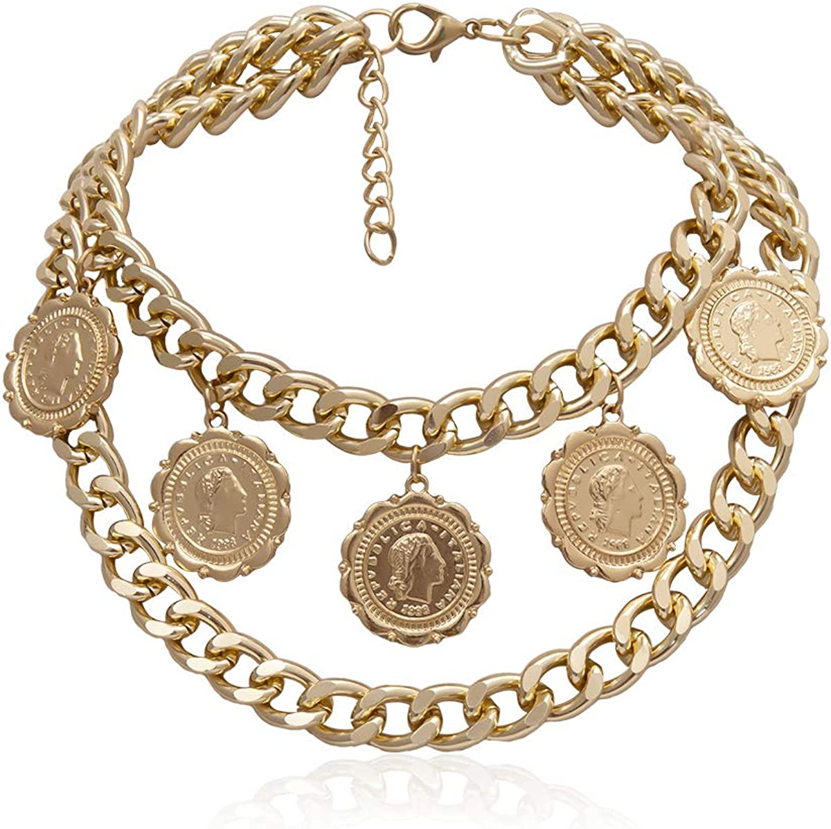 N  A Punk Style Layered Coin Pendant Choker Necklaces for Women Vintage Portrait Carved Pendants Cute Collar Jewelry