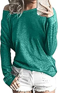 FRPE Women Fashion Loose Fit Solid Casual Long Sleeve Blouse T-Shirt Top