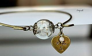 Personalisierter Armreif Pusteblume/Vintage/Brautjungfer Geschenk/Geschenk für sie/Pusteblume Schmuck/geometrischer schmuck /