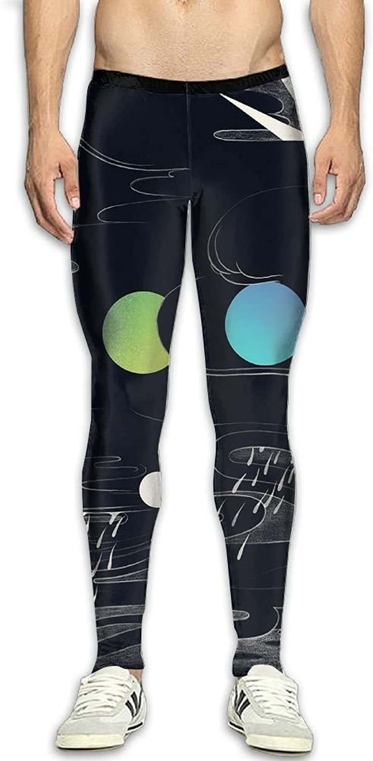 Mens Abstract Illustration Compression Pants Sport Tight Leggings Elastic Waist Baselayer Yoga Sports Trousers