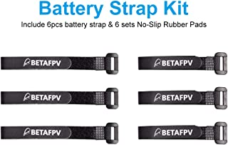BETAFPV 6pcs Black Battery Strap Rubberized Lipo Straps with 6 Sets No-Slip Rubber Pads for 2-4S RC Battery