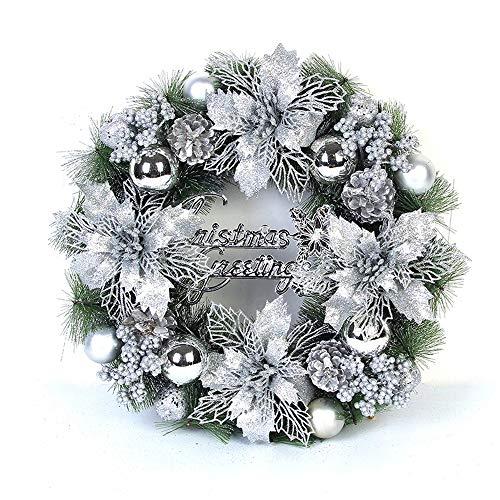 HARVESTFLY Weihnachtskranz Türkranz, für Deko, Weihnachten, ca. 40 cm, Silber