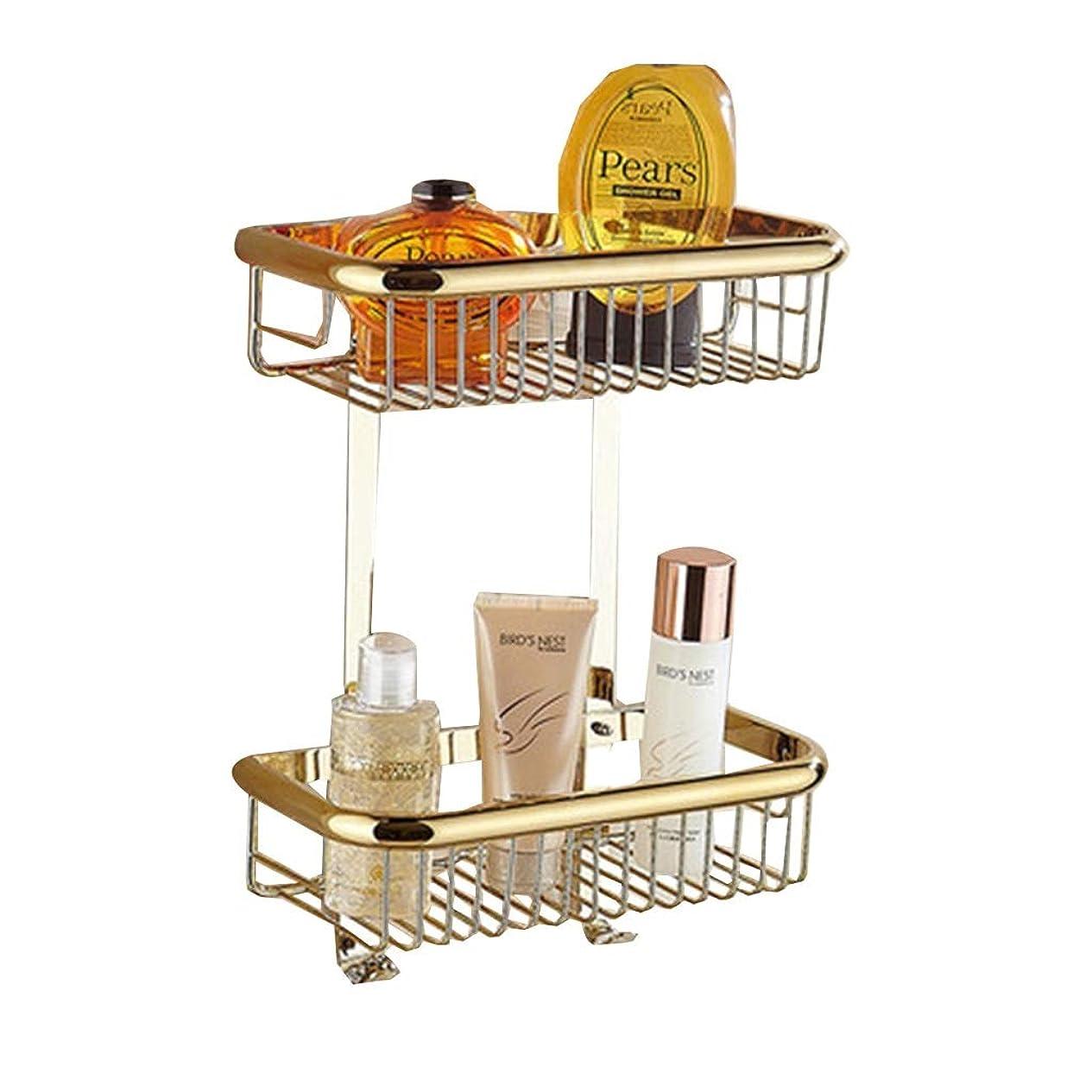 れんがすみませんサイクロプスタオルスタンド スクエアバスケットバスタオル掛け全銅タオル掛けバスルーム棚タオル掛け壁掛け収納棚 (Color : Gold, Size : 30*13.5*39cm)