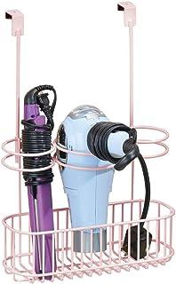 mDesign Colgador de puertas para secador y plancha de cabello sin taladro – Soporte para secador de pelo y rizador – Organizador de baño que se cuelga fácilmente en la puerta del armario – rosa