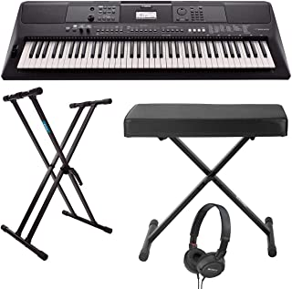$449 Get Yamaha PSREW410 76-key Portable Keyboard with Power Adapter, Double-Braced X-Style Keyboard Stand, Folding X-Style Piano Bench and On-Ear Stereo Headphones