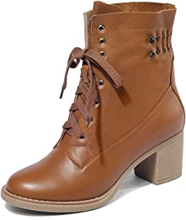 Women's Genuine Leather Round Toe Mid Heel Lace Up Handmade Graceful Comfort Ankle Booties