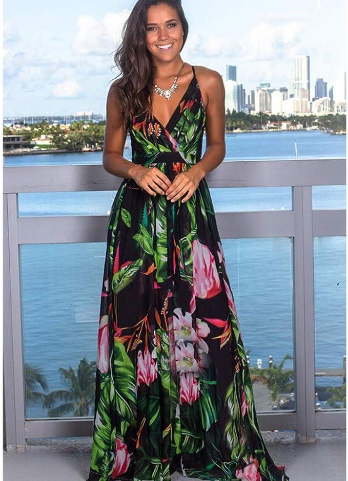 Meilinvren Kleider Damen Print Floral Lange Bohemian Beach Sommerkleid Frauen Sommerkleid Grun Sexy V Ausschnitt Armellose Trager Maxi Vintage Kleid Vestido Frauen Kleidung Amazon De Bekleidung