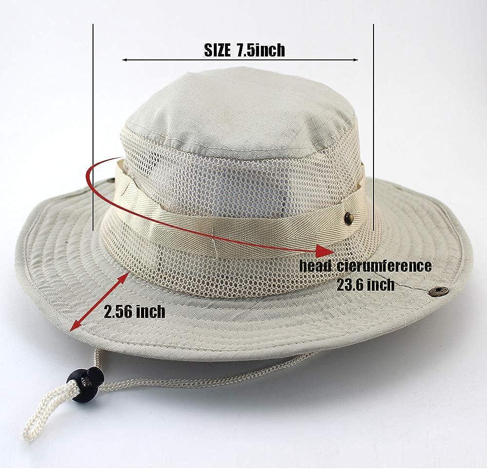 HunterBee Boonie Hat 2 St/ück atmungsaktive breite Krempe Outdoor Sonnenschutz Mesh Safari Cap f/ür Angeln Jagd Wandern