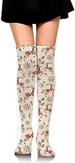 Calcetines de tubo con estampado de ciervos navideños claros para mujer Medias altas hasta el muslo hasta la rodilla para niñas 65 cm / 25,6 pulgadas
