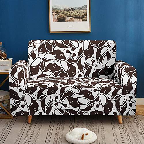 3D Imprimir Funda de Sofá Elástica Funda Sofá Gruesa Antideslizante, Cubierta Sofa Muebles con Cuerda de Fijación Antideslizante Protector de Muebles (Perrito Blanco y Negro, 1 Plazas )