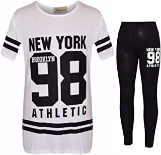 d13123afdb6dc Filles Enfants Camouflage New York Brooklyn 98 Ensemble de Vêtements Imprimé  Top et Leggings Âgés 7